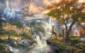 Wallpaper animals, mountains, birds, nature, river, cartoon, waterfall, Bambi, beautiful, painting, art, Thomas Kinkade, painting, Walt ...