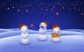 Picture music, christmas, stars, snowman