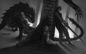 Picture black and white, art, guy, dragon, fear, girl, sword, elf