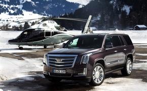 Picture snow, mountains, Cadillac, helicopter, Escalade, Cadillac, 2015, EU-spec, Escalade