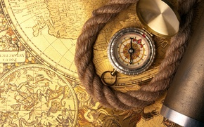 Wallpaper map, rope, compass