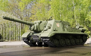 Picture installation, SAU, Soviet, SU-152, self-propelled artillery, heavy, times, The great Patriotic war