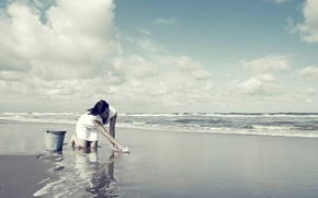 Picture beach, girl, shore, bucket, rag, wash