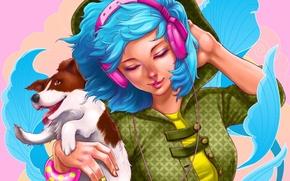 Picture girl, music, animal, hair, dog, hands, headphones, bracelet