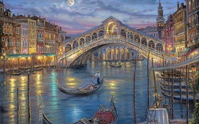 Wallpaper flowers, the gondola, bridge, candles, Italy, The Grand canal, Robert Finale, romance, table, painting, the ...