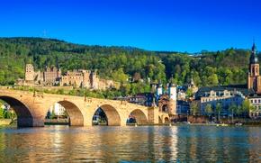 Wallpaper city, summer, sky, bridge, Germany, castle, sunny, Heidelberg, Old Bridge, Neckar River, The Karl Theodor ...
