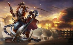 Picture gun, weapons, fire, smoke, ship, gun, pirate, chain, male, deck, league of legends, anchor, Gangplank