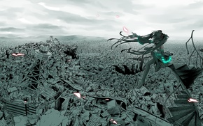 Wallpaper the city, Disaster, vocaloid, hatsune miku