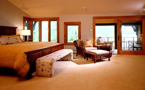 Wallpaper yellow, design, style, room, Windows, lamp, bed, interior, chair, apartment, Koricheva