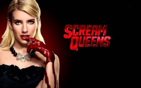 Picture red, girl, blood, long hair, dress, woman, face, assassin, queen, hand, elite, pose, cold, Emma ...