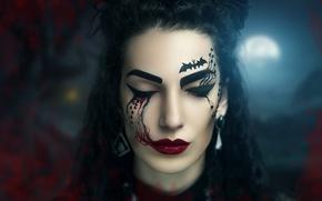 Picture girl, face, holiday, makeup, Halloween, cosmetics, MakeUp, makeup