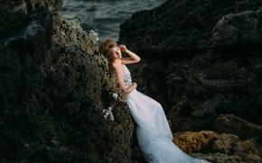 Picture sea, girl, rocks, dress