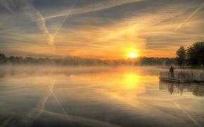 Picture landscape, sunset, fog, lake