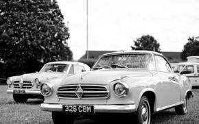 Picture retro, black and white, Coupe, 1958, Isabella, Borgward
