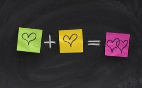 Picture heart, Board, colorful, formula, stickers
