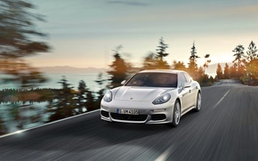 Picture Auto, Road, White, Porsche, The hood, Panamera, Lights, Porsche, In Motion, E-Hybrid