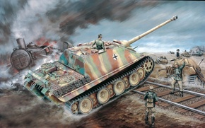 Picture figure, the second world, the Germans, sau, the Wehrmacht, Jagdpanther, Sd.Car. 173, jagdpanther, self-propelled artillery, ...