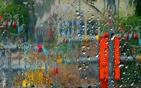 Picture glass, background, rain