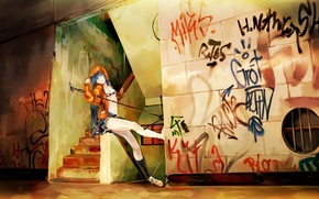 Picture music, wall, graffiti, anime, microphone, Vocaloid, Miku