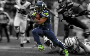 Wallpaper athlete, the game, NFL, Football, runnerback, racerback, Marshawn Lynch, Seahawks, American football, Seattle