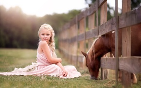 Picture girl, horse, child and horse
