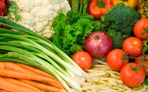 Wallpaper food, bow, pepper, vegetables, tomatoes, carrots, broccoli