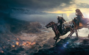 Picture the city, horse, rider, The Witcher, The Witcher 3: Wild Hunt