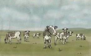 Wallpaper Figure, milk, Meadow, Children should drink, be healthy, Beef, Cows