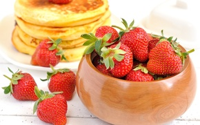 Picture background, Wallpaper, food, strawberry, berry, wallpaper, pancakes, widescreen, background, full screen, HD wallpapers, pancakes, widescreen