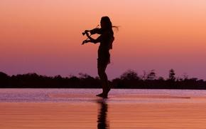 Picture music, girl, twilight, sunset, lake, dusk, violin, reflection, silhouette, mirror, musician, raft, poetic