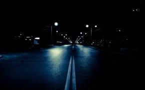 Wallpaper road, lights, night, the city