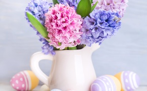 Picture flowers, holiday, Board, eggs, Easter, pitcher, Easter, eggs, hyacinths