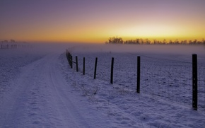 Wallpaper winter, road, landscape, sunset, the fence