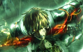 Picture guy, cyborg, anime, art, One Punch Man, Geno