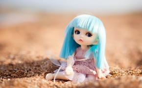 Picture sand, toy, doll, sitting, blue hair