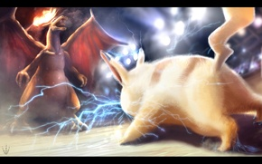 Picture fire, battle, electricity, Pikachu, pokemon, pokemon, Pikachu, charizard, charizard