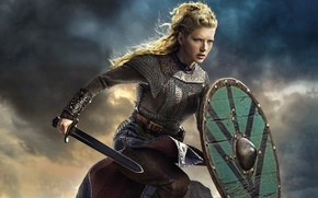 Picture the sky, sword, the series, shield, drama, Vikings, historical, The Vikings, Katheryn Winnick, Lagertha
