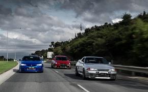 Picture nissan, turbo, red, mitsubishi, road, skyline, japan, blue, jdm, tuning, evolution, evo, gtr, speed, r34, …