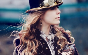 Picture girl, hair, hat, earrings, cylinder, Steampunk, the Victorian era, goggle