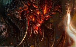 Picture fire, the demon, fangs, horns, Diablo