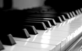 Wallpaper piano, keys, white, black