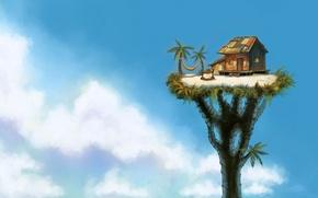 Picture clouds, house, Palma, tree, height, the fire, art, hammock, hut, giant, Paul Halasa