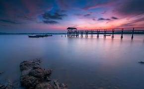 Picture sunset, lake, Marina, boats