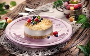 Picture berries, raspberry, blueberries, mint, dessert, cheesecake, maskarpone, sufle, yagodi