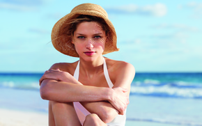 Picture girl, beach, sea, hat, model, Clarins
