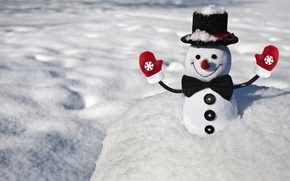 Picture winter, snow, snowflakes, smile, background, Wallpaper, butterfly, mood, positive, buttons, snowman, widescreen, mittens, full screen, …