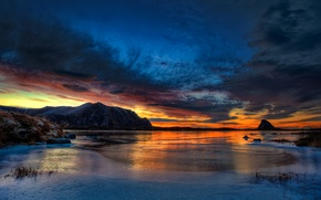 Wallpaper ice, winter, the sky, clouds, sunset, mountains, rock, lake, glow