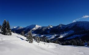 Wallpaper snow, trees, mountains, Winter