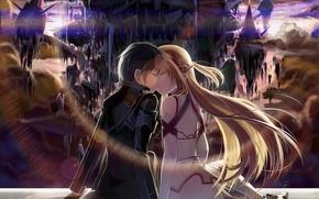 Picture girl, sunset, the city, kiss, anime, art, guy, two, sword art online, yuuki asuna, okingjo, …