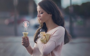 Picture light bulb, girl, fantasy, art, the power of thought